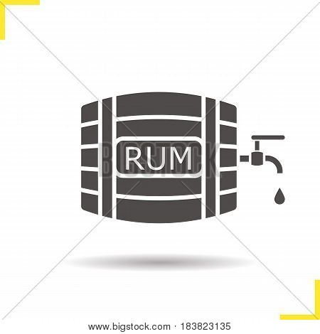 Rum wooden barrel glyph icon. Drop shadow silhouette symbol. Alcohol barrel with tap and drop. Negative space. Vector isolated illustration