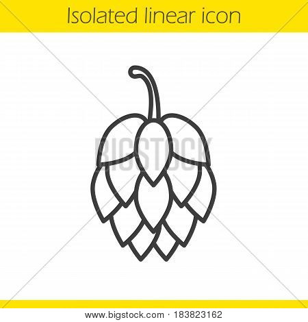Hop cone linear icon. Thin line illustration. Contour symbol. Vector isolated outline drawing