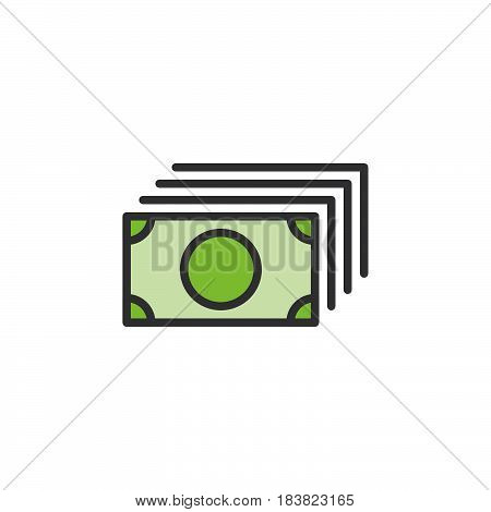 Money flow banknotes line icon filled outline vector sign linear colorful pictogram isolated on white. Symbol logo illustration. Editable stroke. Pixel perfect