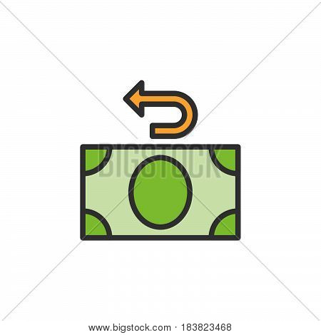 Money refund line icon filled outline vector sign linear colorful pictogram isolated on white. Cashback symbol logo illustration. Editable stroke. Pixel perfect