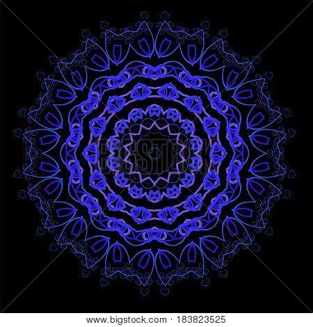 Ornamental Line Pattern. Decorative Texture. Oriental Blue Geometric Ornament