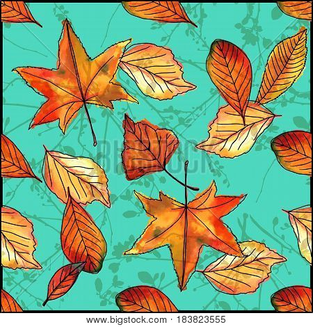 A seamless pattern of vector watercolor leaves and branches on a teal background. Autumnal wallpaper design