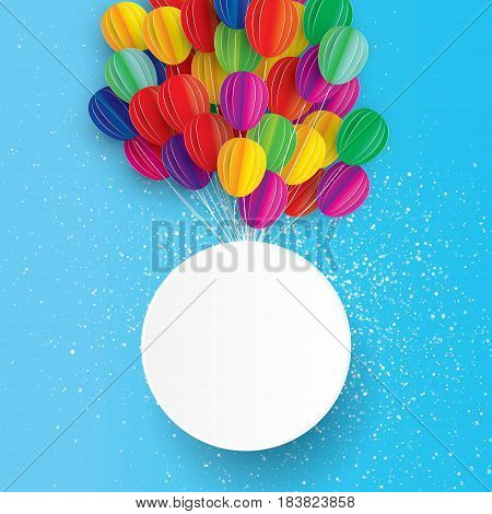 Flying Paper art cut balloons. Circle frame for text. Colorful decoration for party, celebration, banner, card, gift. Origami bunch baloon. Happy Birthday Greeting card. Vector Illustration.