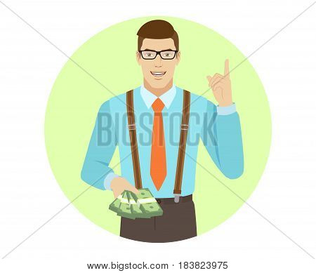 Businessman with cash money pointing up. A man wearing a tie and suspenders. Portrait of businessman character in a flat style. Vector illustration.