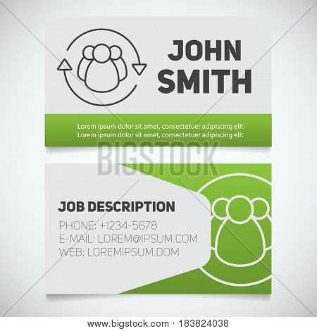 Business card print template with staff turnover logo. Manager. HR manager. Employment. Stationery design concept. Vector illustration