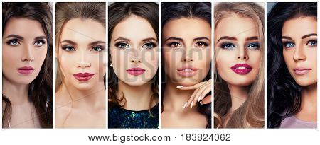 Beautiful Women with Perfect Makeup. Beauty Collage Cute Faces