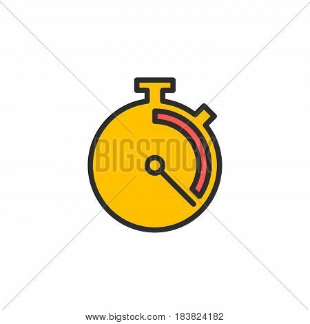 Stopwatch chronometer line icon filled outline vector sign linear colorful pictogram isolated on white. Symbol logo illustration. Editable stroke. Pixel perfect