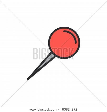 Push pin line icon filled outline vector sign linear colorful pictogram isolated on white. Symbol logo illustration. Editable stroke. Pixel perfect