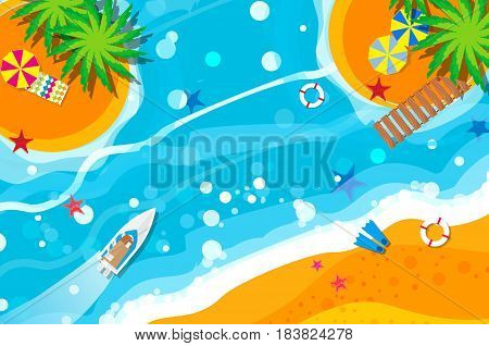 Top view motor yacht. Beach rest. Holidays. Summer vacation. Time to travel. Sea, waves, sand and umbrella, palm. Vector design background and objects illustrations
