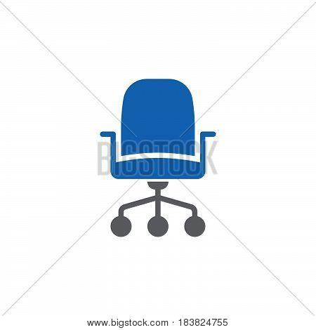 Office chair icon vector filled flat sign solid colorful pictogram isolated on white. Symbol logo illustration. Pixel perfect
