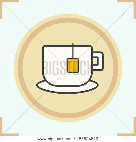Teacup color icon. Mug on plate with teabag. Isolated vector illustration