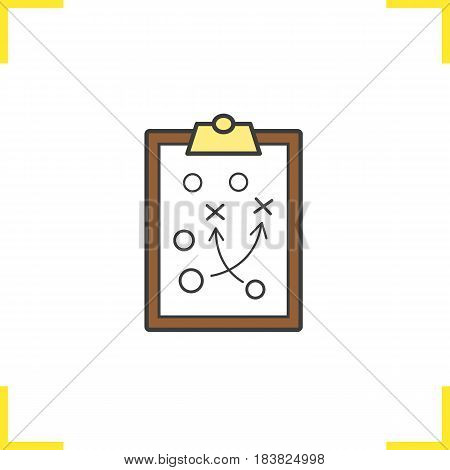 Clipboard game plan color icon. Sport game strategy scheme. Isolated vector illustration
