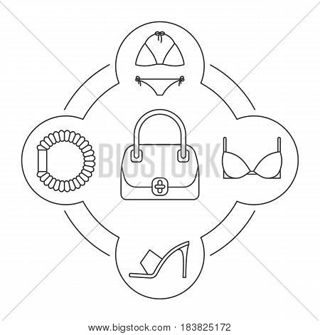 Women's accessories contents linear icons set. Lingerie, bra, hair scrunchy, handbag, high heel shoe. Isolated vector illustrations
