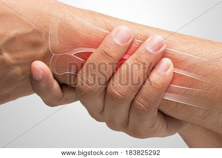 People suffering from arm pain De Quervain Tenosynovitis Men with bones and wrist problem concept