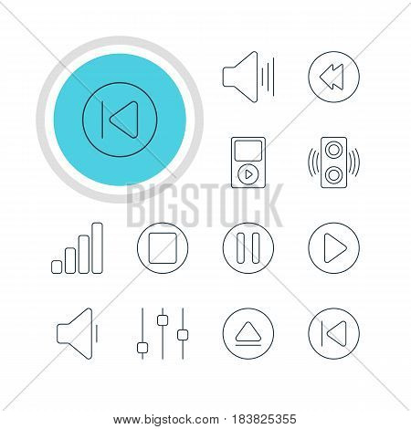 Vector Illustration Of 12 Music Icons. Editable Pack Of Volume Up, Reversing, Preceding And Other Elements.