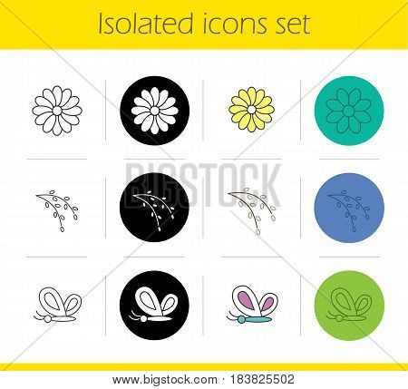 Spring icons set. Linear, black and color styles. Butterfly, aster flower, willow blossom. Nature. Isolated vector illustrations
