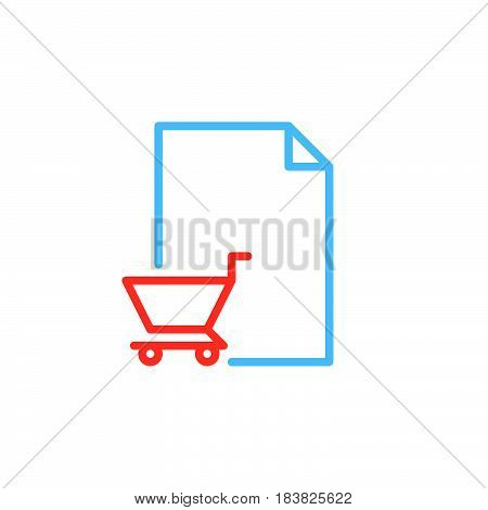 Purchase order line icon outline vector sign linear colorful pictogram isolated on white. Symbol logo illustration. Editable stroke. Pixel perfect