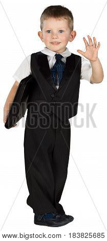 Friendly Little Boy Holding Organizer and Waving - Isolated