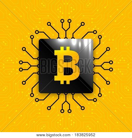Bitcoin mining equipment. CPU chip for Bitcoin mining on circuit board background. Motherboard with microprocessor for processing binary data arrays. Technology background. Vector illustration