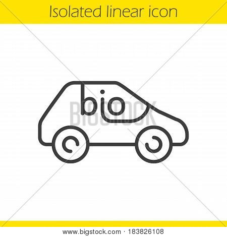 Bio car linear icon. Thin line illustration. Eco friendly automobile contour symbol. Vector isolated outline drawing