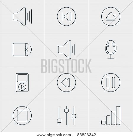 Vector Illustration Of 12 Music Icons. Editable Pack Of Rewind, Mp3, Stabilizer And Other Elements.