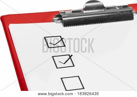 Checkbox on the Sheet of Paper on the Clipboard - Isolated