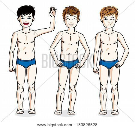 Child Young Teen Boys Group Standing In Blue Underwear. Vector Diversity Kids Illustrations Set. Chi