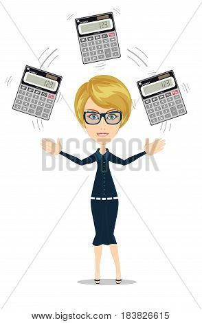 Businesswoman or accountant juggling a calculators in his hands. Profit, finances concept. Vector, flat, illustration
