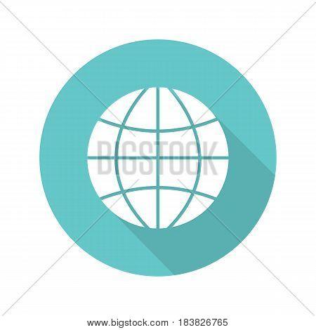 Globe flat design long shadow icon. Earth spherical model. Vector silhouette symbol