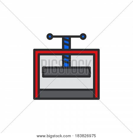 Manual press machine filled outline icon line vector sign linear style pictogram isolated on white. Symbol logo illustration. Editable stroke. Pixel perfect