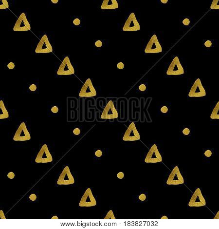Abstract seamless pattern. Black and gold grunge background with diagonal rows of geometric shapes.