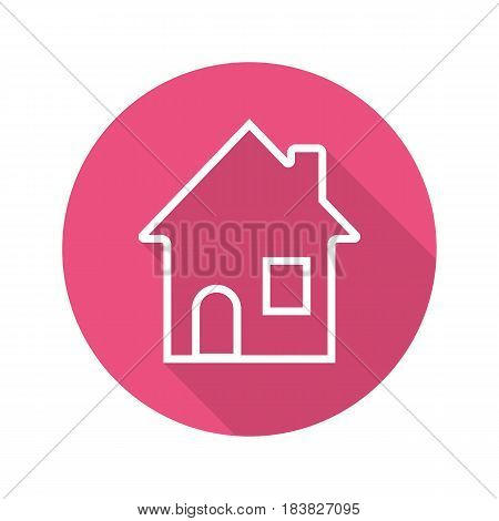 House flat linear long shadow icon. Home. Cottage. Vector line symbol