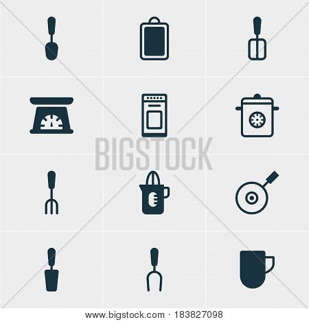 Vector Illustration Of 12 Restaurant Icons. Editable Pack Of Barbecue Tool, Chopping Desk, Tablespoon And Other Elements.