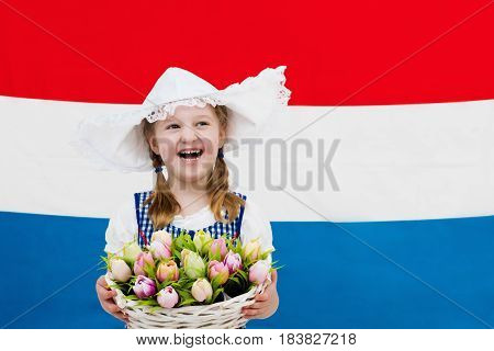 Dutch Child With Tulip Flowers And Netherlands Flag
