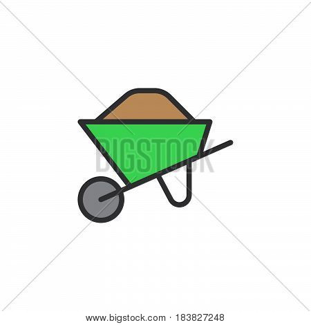Wheelbarrow full filled outline icon line vector sign linear style pictogram isolated on white. Symbol logo illustration. Editable stroke. Pixel perfect