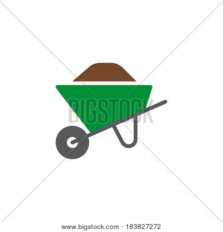 Wheelbarrow full colorful vector icon filled flat sign solid pictogram isolated on white. Symbol logo illustration. Pixel perfect