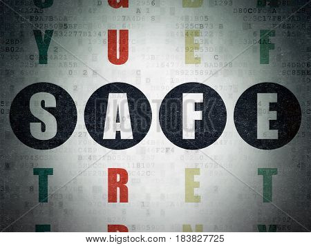 Security concept: Painted black word Safe in solving Crossword Puzzle on Digital Data Paper background