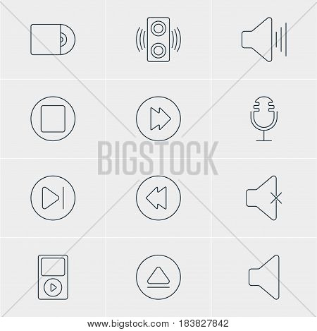 Vector Illustration Of 12 Melody Icons. Editable Pack Of Mp3, Amplifier, Mike And Other Elements.