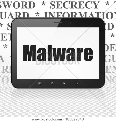 Safety concept: Tablet Computer with  black text Malware on display,  Tag Cloud background, 3D rendering