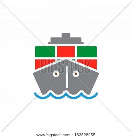 Container cargo ship colorful vector icon filled flat sign solid pictogram isolated on white. Symbol logo illustration. Pixel perfect