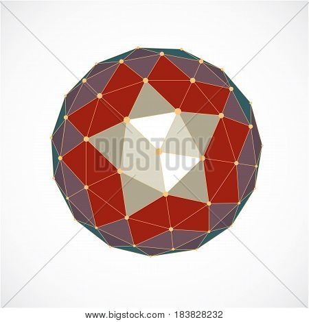 Perspective Technology Shape With Lines And Dots Connected, Polygonal Wireframe Object. Abstract Col