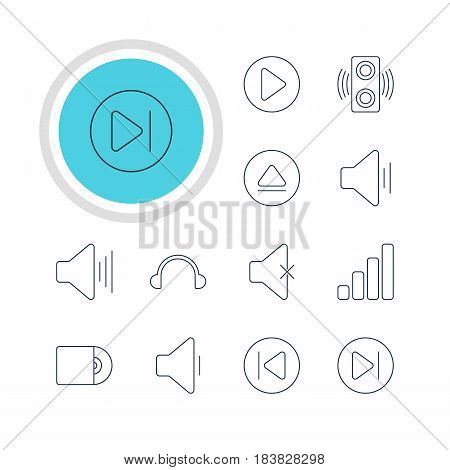 Vector Illustration Of 12 Melody Icons. Editable Pack Of Earphone, Volume Up, Audio And Other Elements.