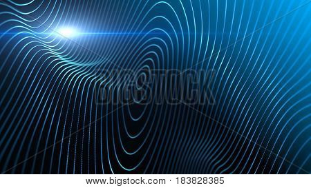 Abstract background with waving lines in 3d space. Macro look. Blue abstract science, technology and engineering background. 3D rendering.