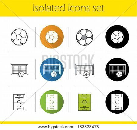 Soccer icons set. Flat design, linear, black and color styles. Football field, goal and ball. Isolated vector illustrations