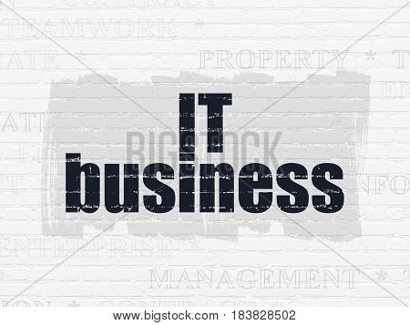 Business concept: Painted black text IT Business on White Brick wall background with  Tag Cloud
