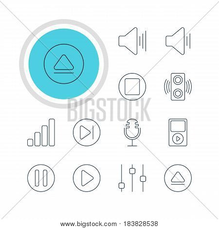 Vector Illustration Of 12 Music Icons. Editable Pack Of Rewind, Pause, Amplifier And Other Elements.