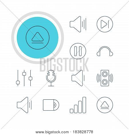 Vector Illustration Of 12 Music Icons. Editable Pack Of Mike, Earphone, Audio And Other Elements.