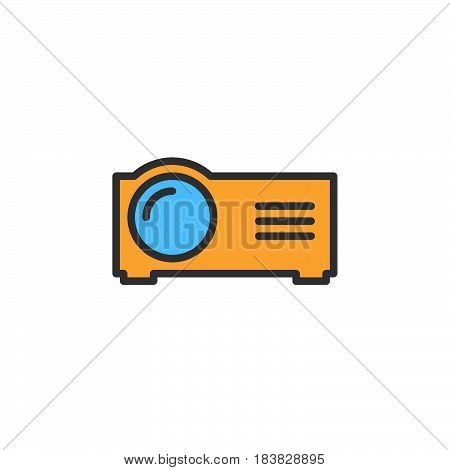 Presentation digital projector line icon filled outline vector sign linear colorful pictogram isolated on white. Symbol logo illustration. Editable stroke. Pixel perfect