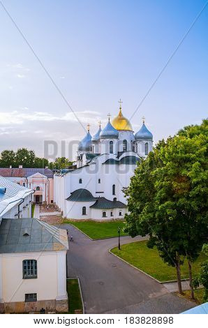 Architecture Landscape-birds Eye View Of Saint Sophia Cathedral In Veliky Novgorod, Russia.