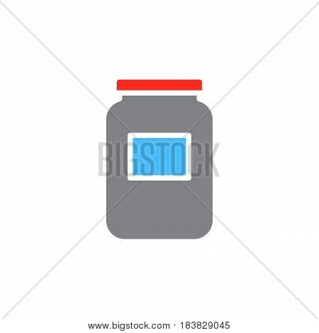 Glass jar icon vector filled flat sign solid colorful pictogram isolated on white. Symbol logo illustration. Pixel perfect